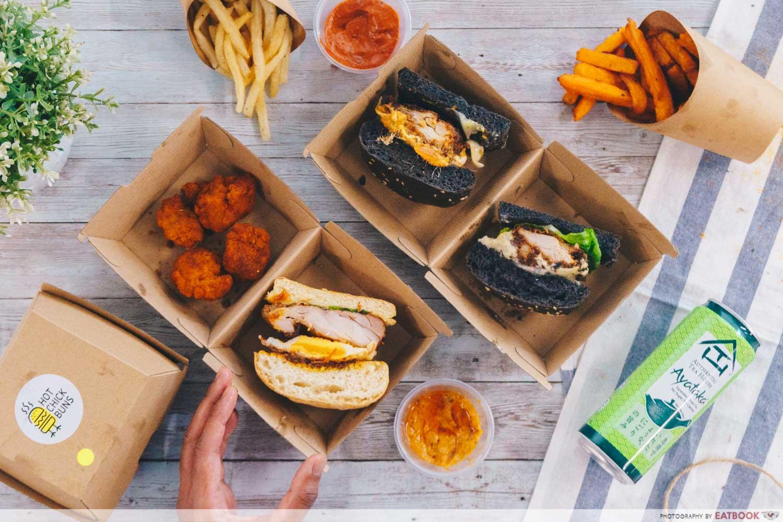 An arrangement of burgers