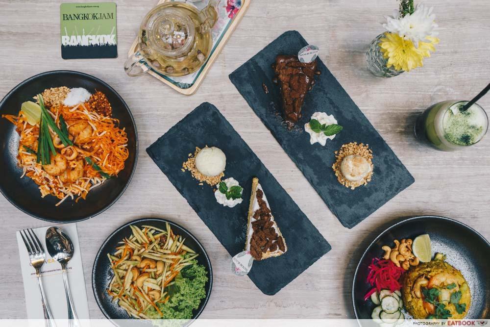 Flatlay of Thai food