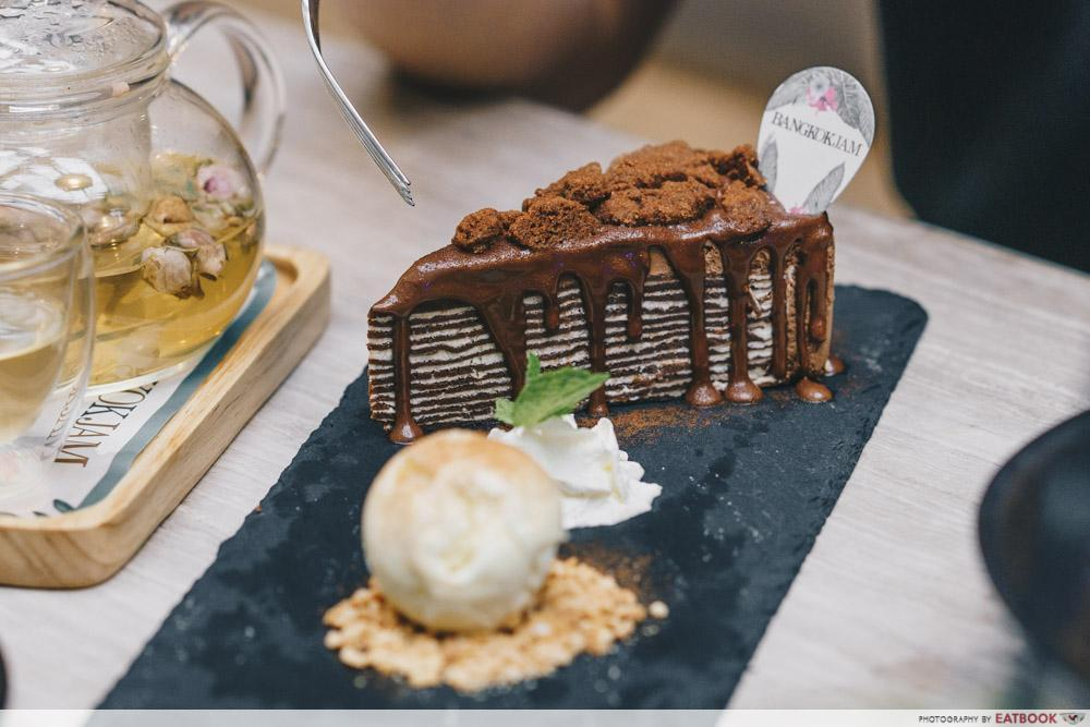 Crepe Cake with Dark Chocolate Mousse and Milo Crunch
