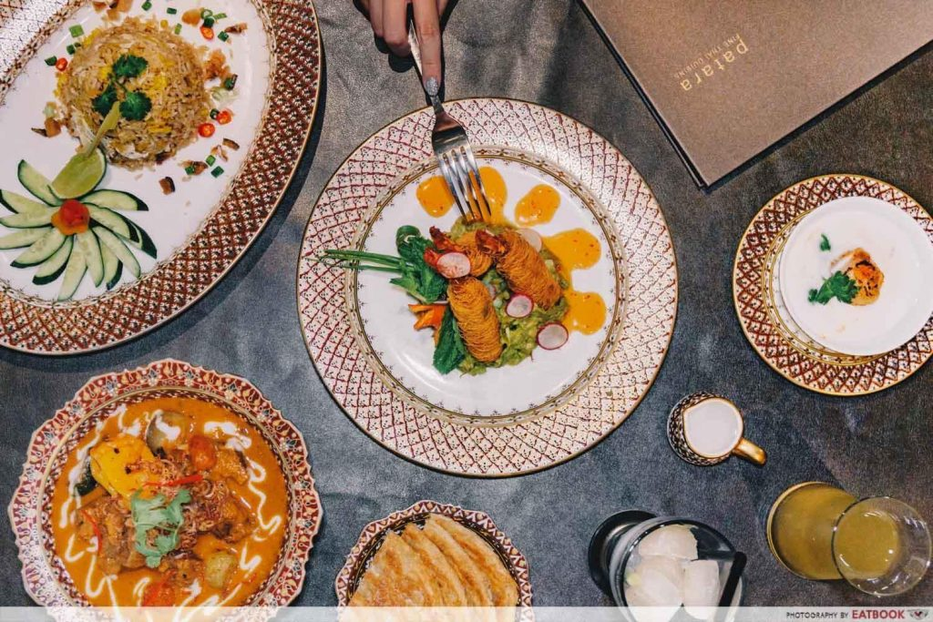flatlay of Thai dishes