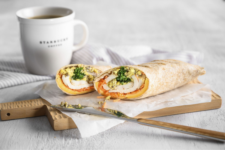 Truffle Scrambled Egg, Chicken, Kale & Cheese Wrap (from $6.90), Scrambled Egg & Turkey Ham Pita