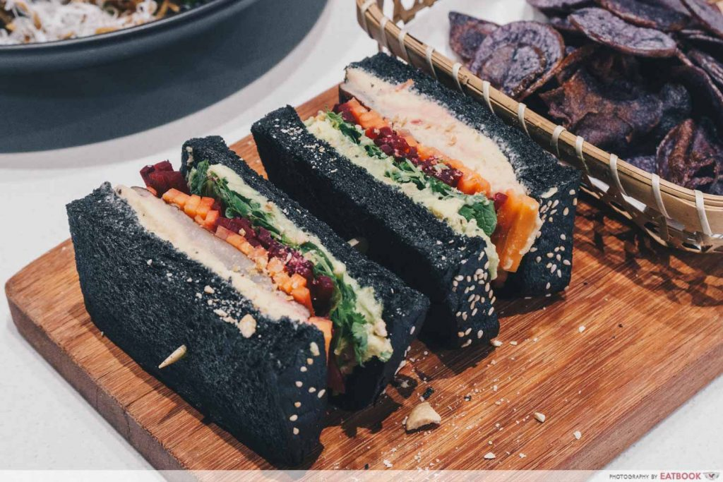 Tiong Bahru Bakery Diner Portobello, Avocado & Hummus Black Sandwich