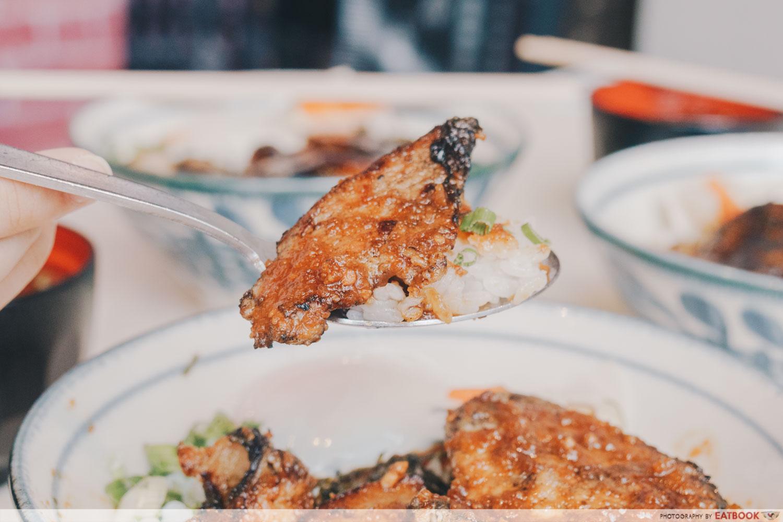 Buta Kabayaki - Garlic Pork Loin on spoon