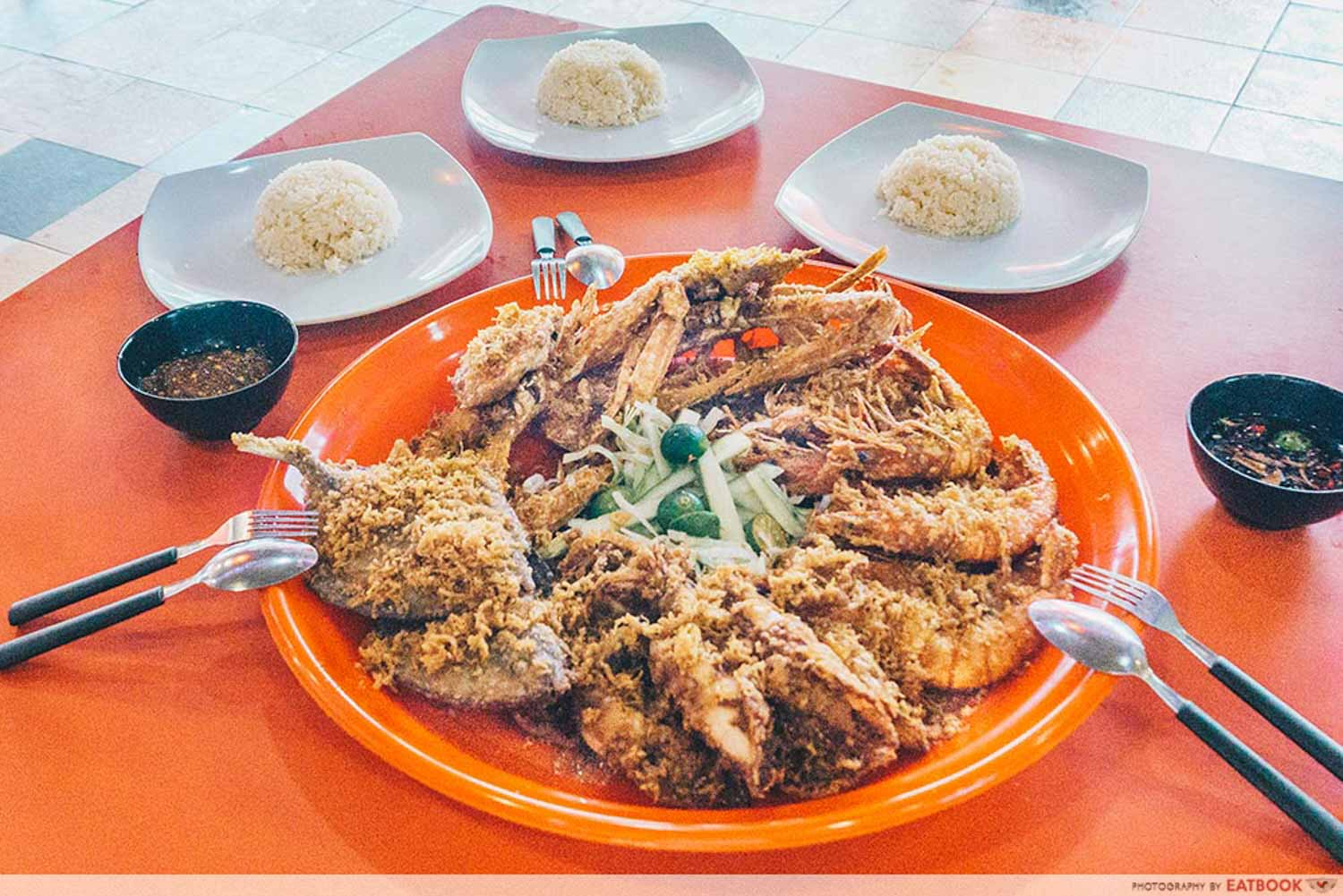 Project Penyek-Shot of seafood platter with rice