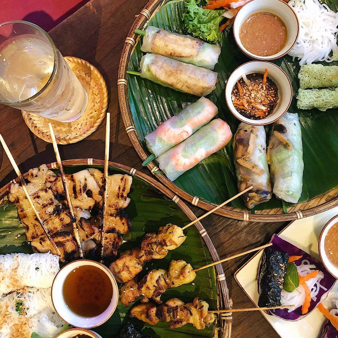 paper rice spring rolls and skewers