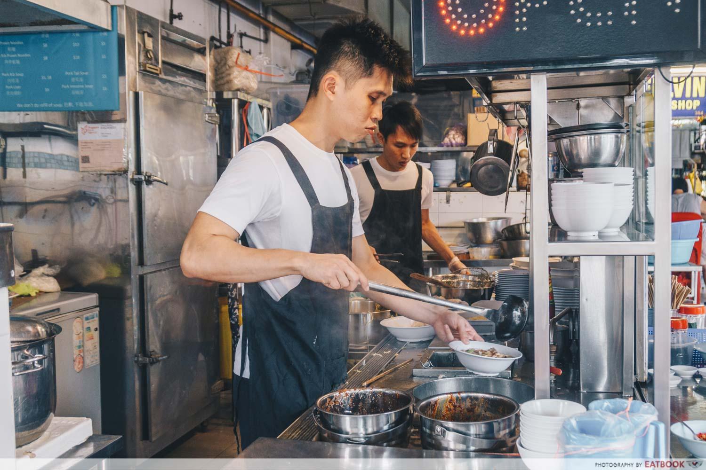 Da Dong Prawn Noodles - Owner cooking shot