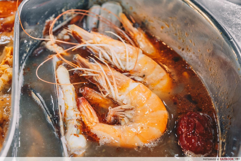 Yi Zi Wei - Prawns in mala soup closeup
