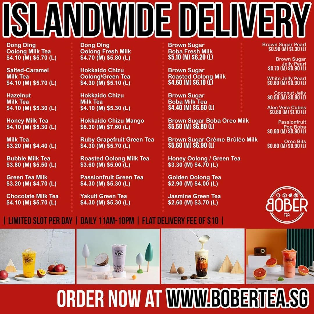 Bober Tea Delivery - Delivery menu