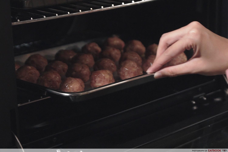 IKEA Meatballs recipe - Place meatballs in oven