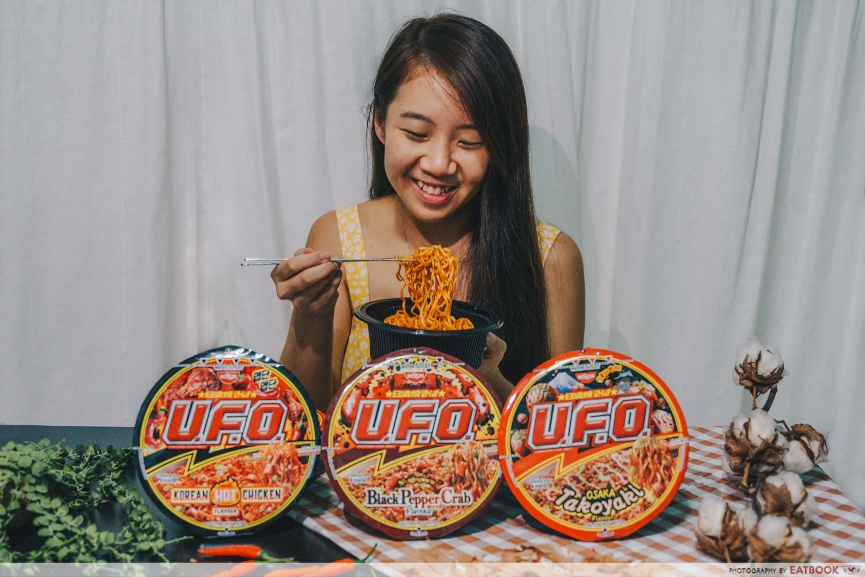 girl eating noodles