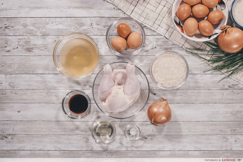 Rice Cooker Oyakodon - ingredients flatlay
