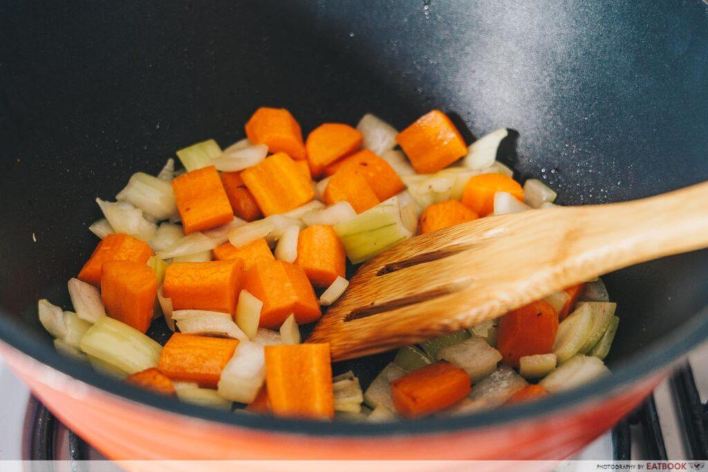 Rotisserie Chicken Noodle Soup Recipe sweat vegetables