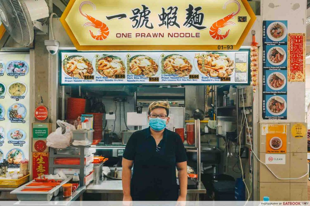 One Prawn Noodle owner with stall