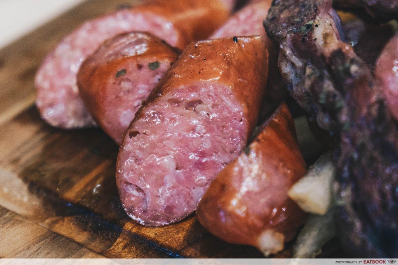 TORCHED meat platter - bratwurst sausage