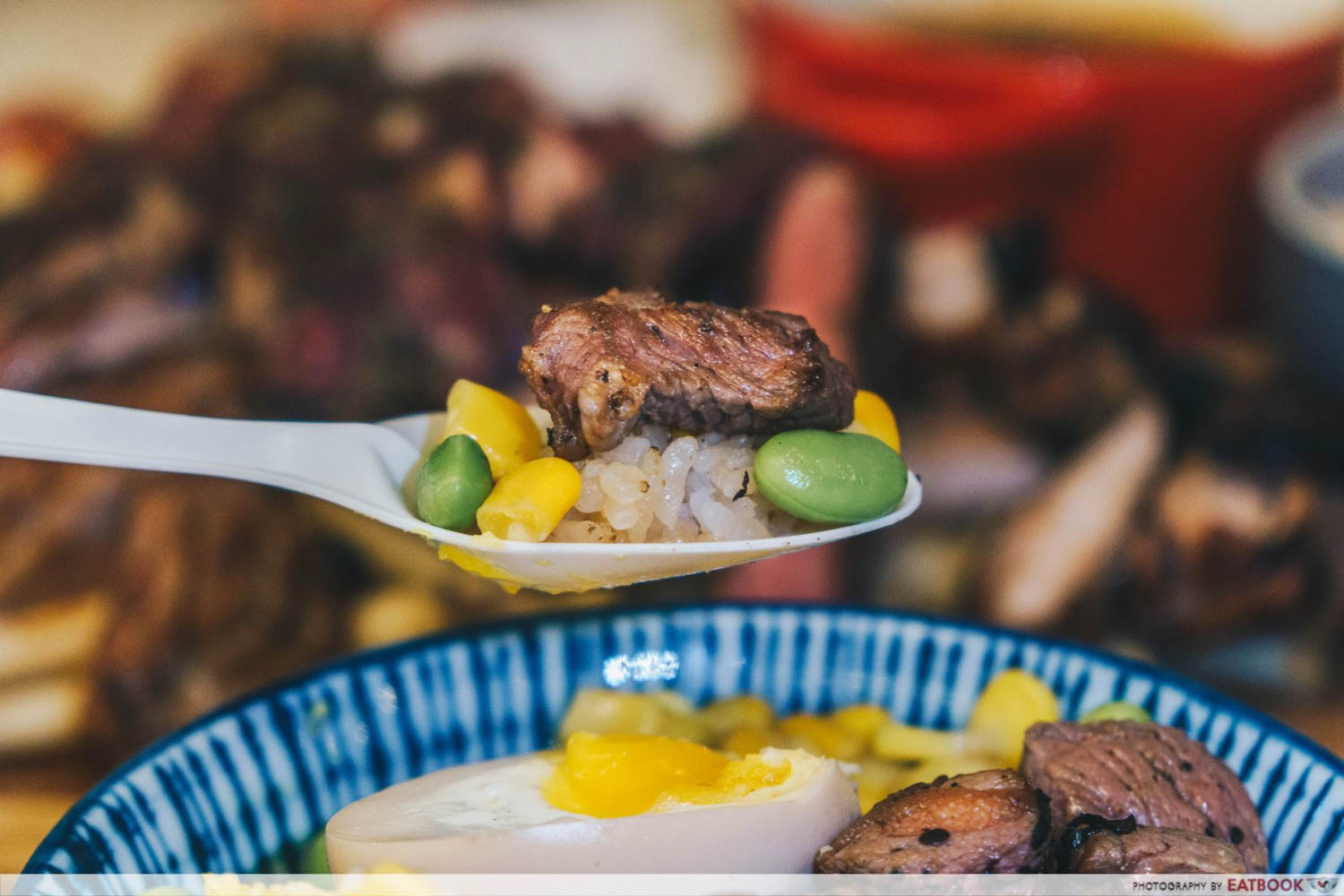 TORCHED meat platter - truffle beef with corn edamame and rice