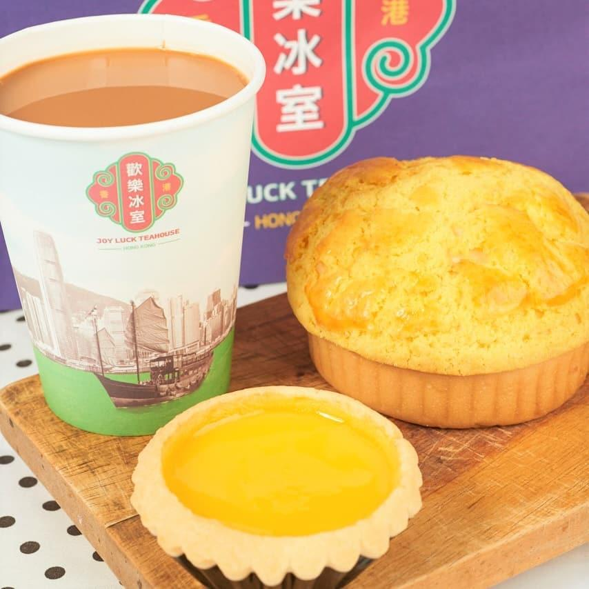 Joy Luck Teahouse - Egg Tart, Pineapple Bun, Milk Tea