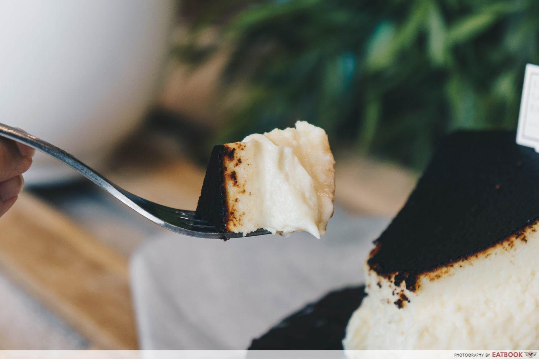 Keong Saik Bakery - burnt cheesecake on fork