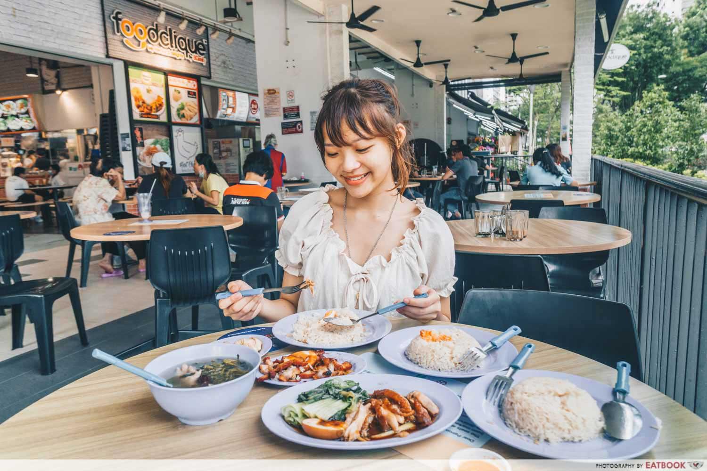 Le Da Chicken Rice - eating shot