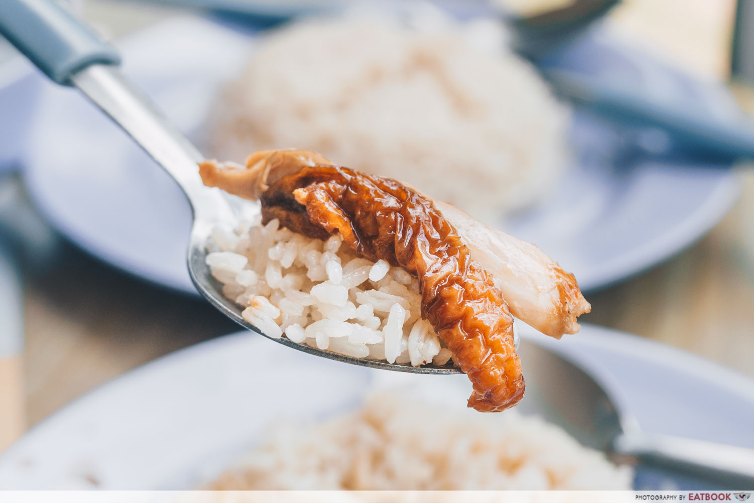 Le Da Chicken Rice - piece of roasted chicken and rice