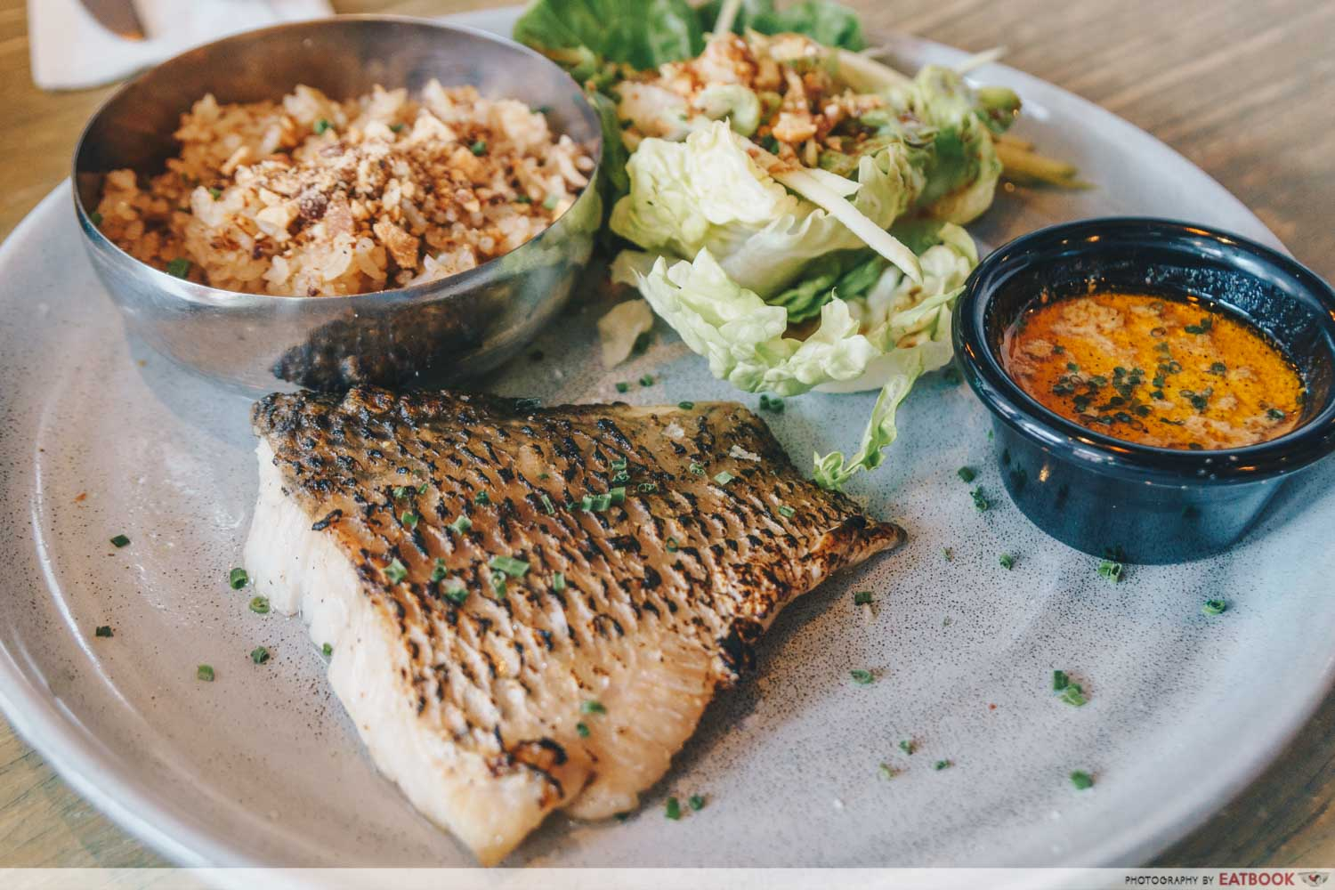 Char Grill Sea Bass With Seafood Cream