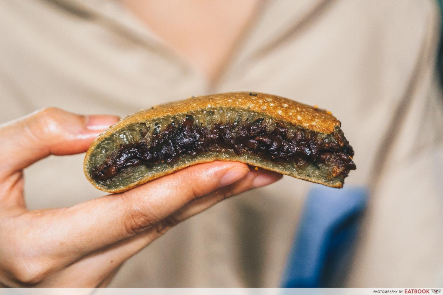 Munchi Delights - matcha min jiang kueh with red bean filling
