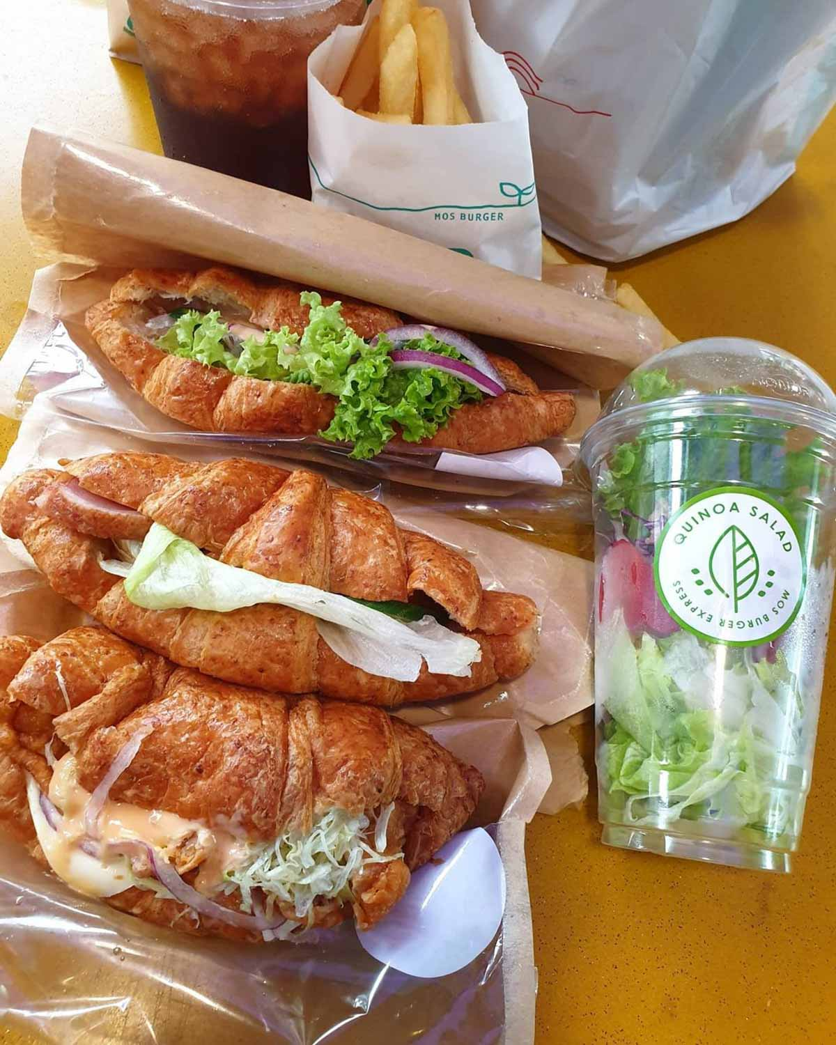 MOS Burger Express - croissants and salad cups