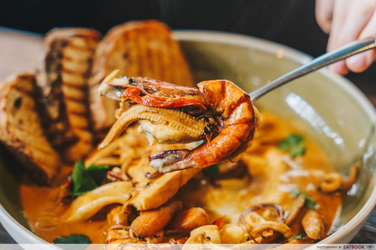 seafood stew close up
