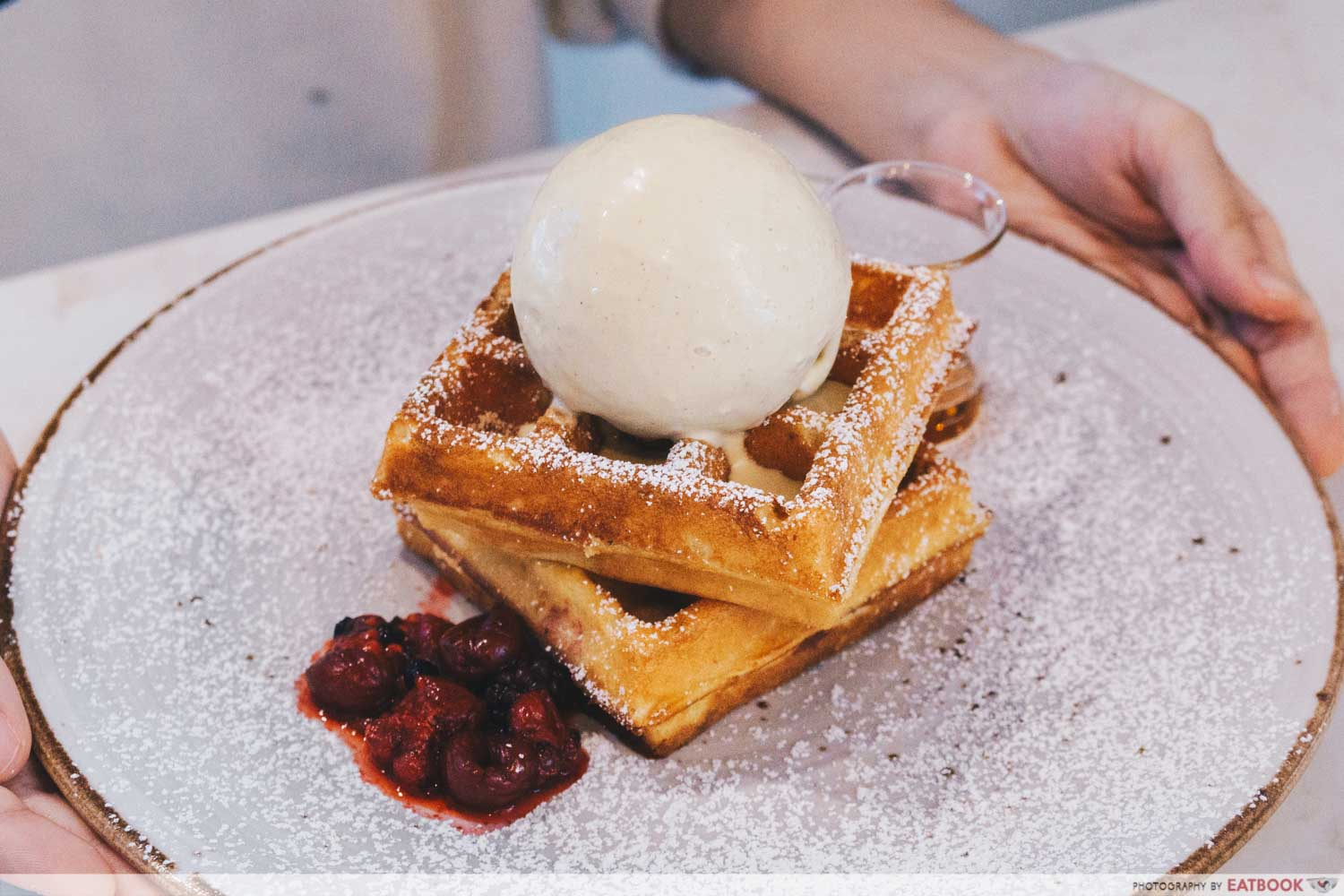 Signature Waffles with Roasted Pistachio and Maple Syrup