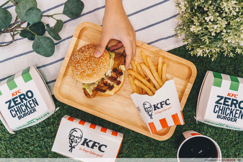 KFC zero chicken burger - flatlay