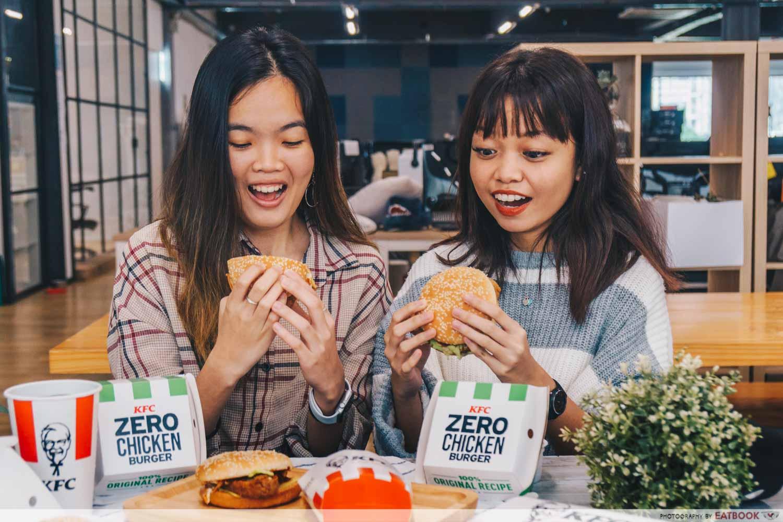 KFC zero chicken burger - verdict shot