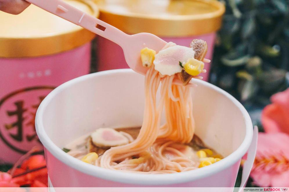 pink instant noodles