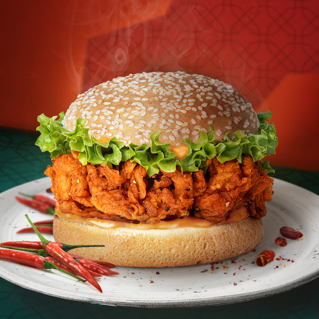 extra spicy chicken burger at jollibee