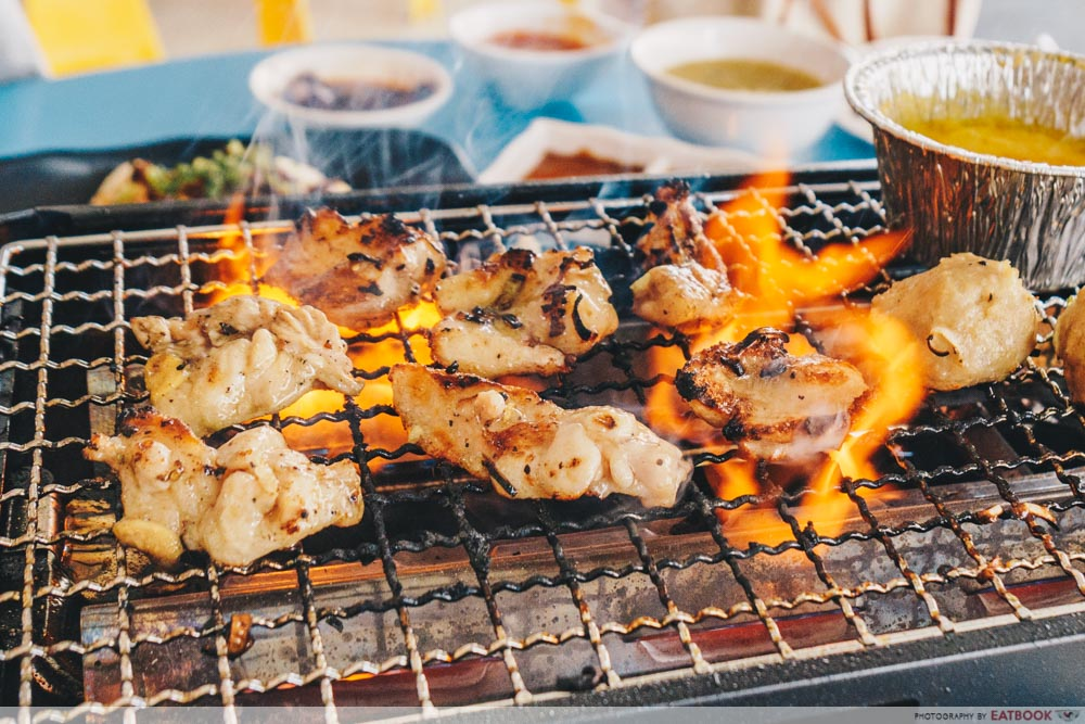 chicken on grill yakiniku tori yaro