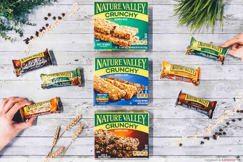 nature valley granola bars flatlay