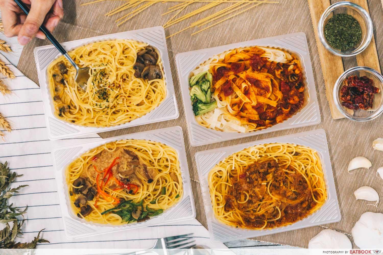 nissin frozen pasta flatlay