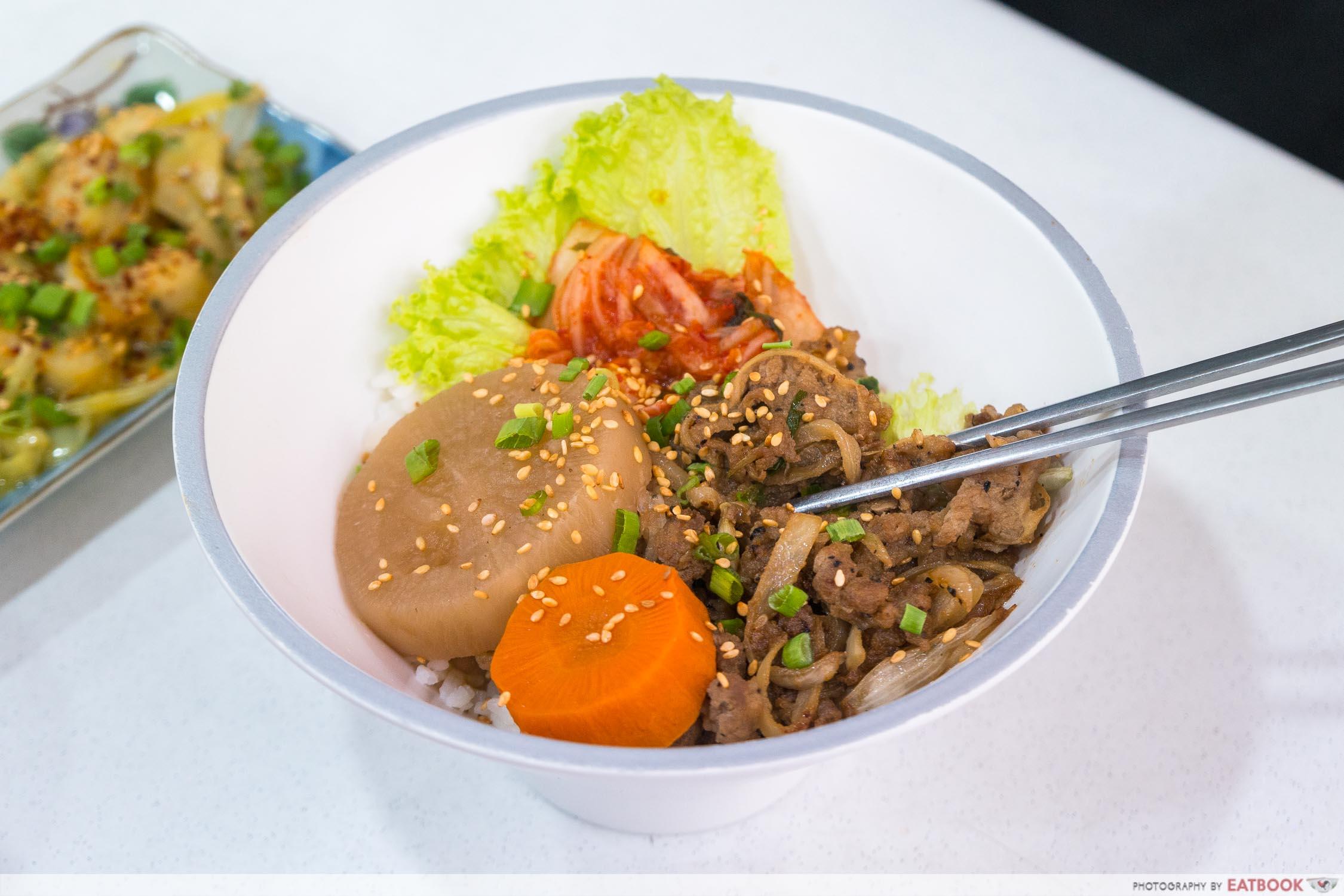 Hungry Korean - bulgogi rice bowl close up