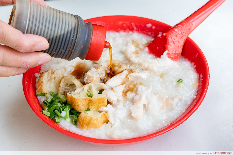 Johor Boon Kee Pork Porridge - soya sauce