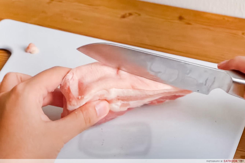 roast pork recipe - scoring with knife