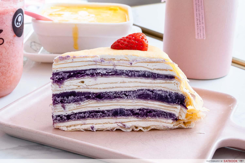 smile dessert - sweet potato crepe cake