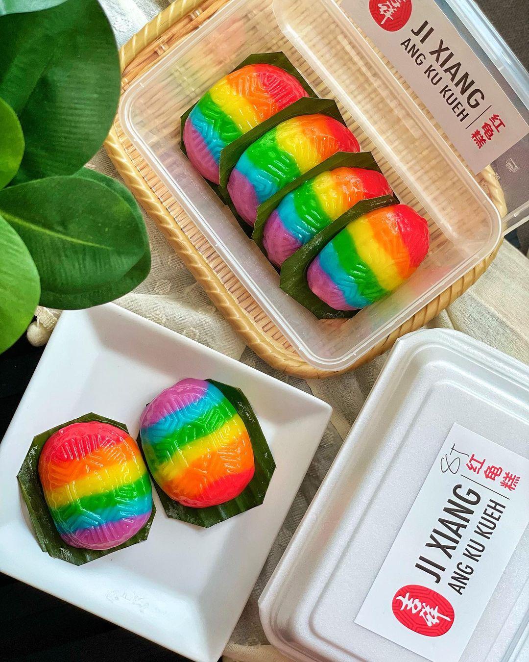 rainbow ang ku kueh ji xiang confectionery - flatlay