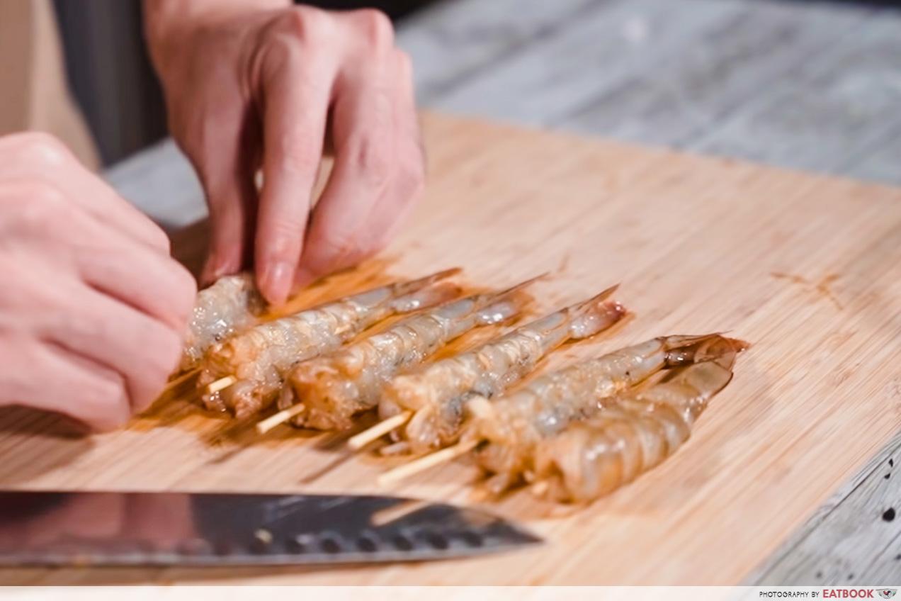 3-Course Indomie Meal - prawn skewer