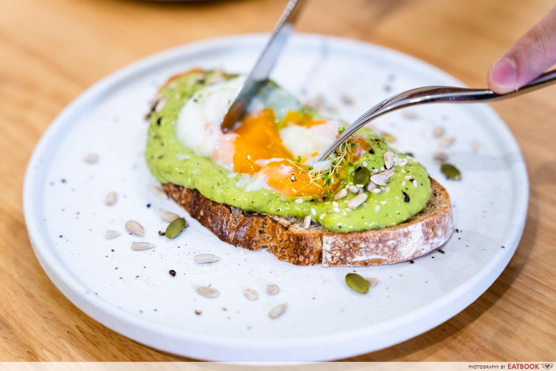 main street commissary avo toast egg cut