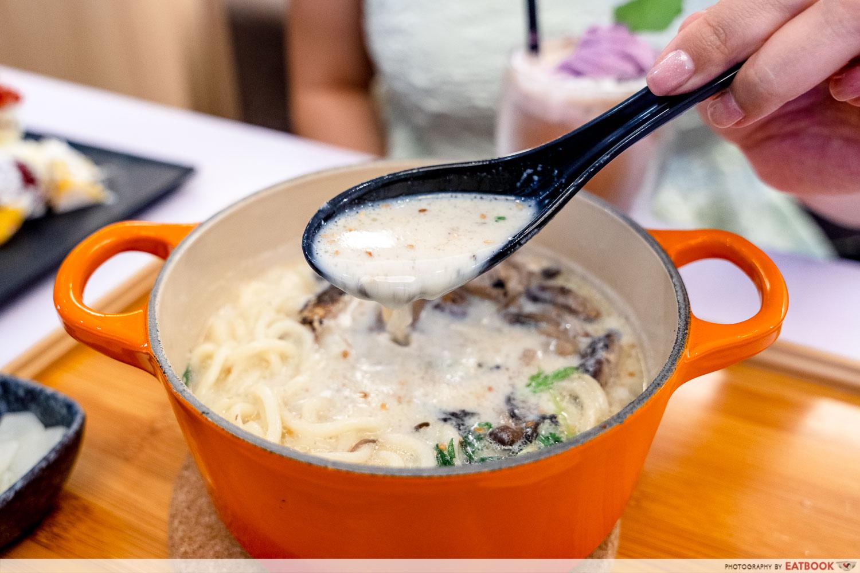 cafe kuriko - aburi chicken soya truffle flavour cha nabe soup