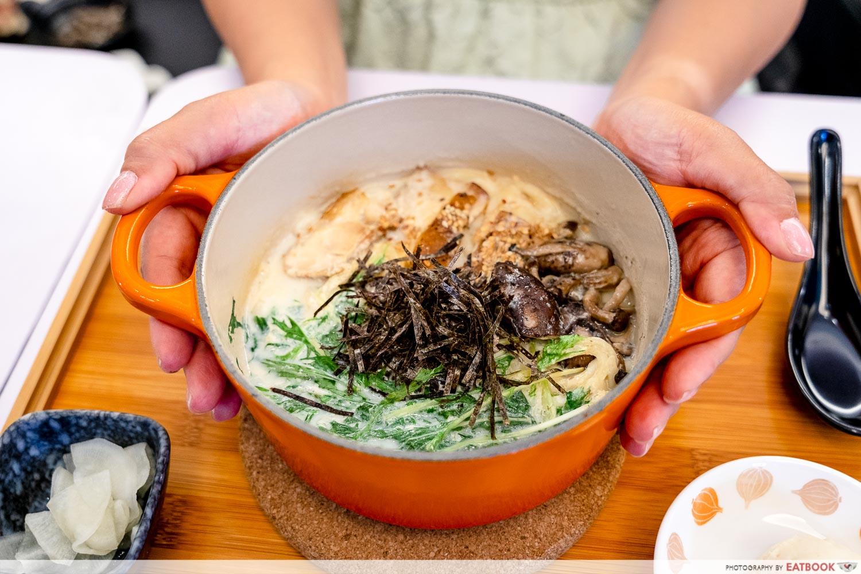 cafe kuriko - aburi chicken soya truffle flavour cha nabe