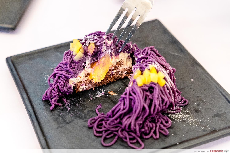 cafe kuriko - purple sweet potato mont blanc cross section