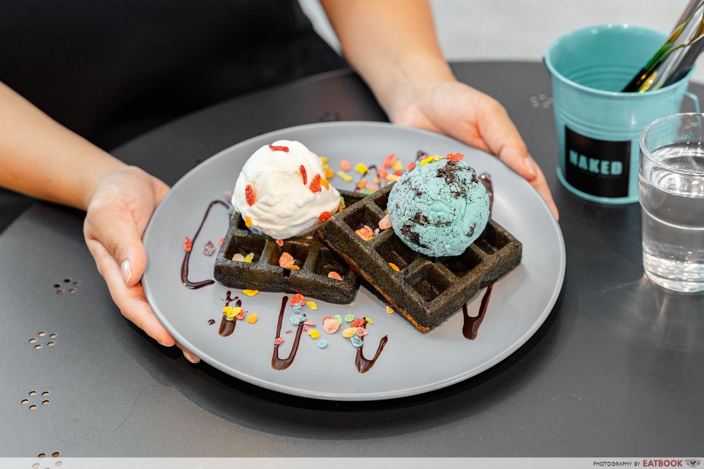 naked ice cream - charcoal waffles