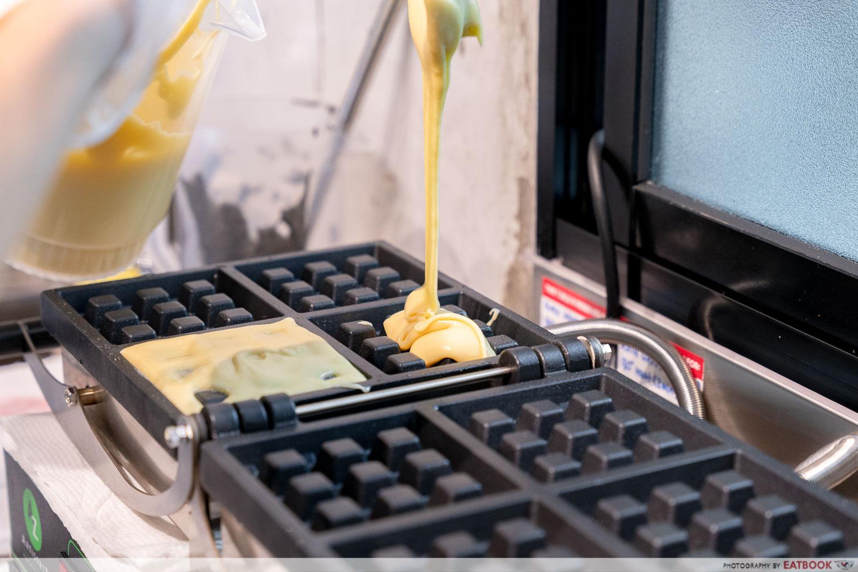 naked ice cream - making waffles