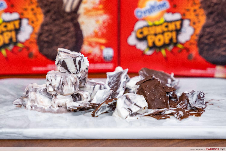 wall's ovaltine crunchy pop ice cream - separated ice cream