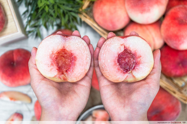 fukushima peaches - half with pit
