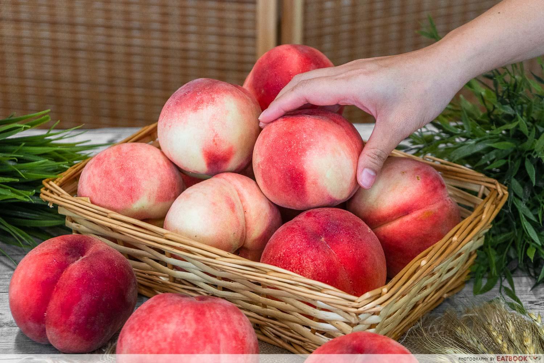fukushima peaches - in basket